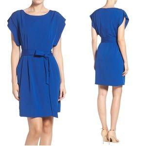 Eliza J Drape Sleeve Sash Belt Dress Navy Blue 14